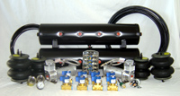 """LRD AIR MGT KIT #4 Xtreme Air Kit (2) VIAIR 444c Compressors (8) GC Xtreme 1/2"""" 450 psi Valves (1) AVS 7 Switchbox Black (1) LRD 165/200 Pessure Switch (2) 40amp Relays w/ Sockets (2) AVS Dual Needle Gauges 200psi (1) AVS Single Needle Gauge 200psi (50) 1/2"""" D.O.T Airline (50) 1/8"""" D.O.T Airline (2) Slam Specialties RE6 Airbags (2) Slam Specialties RE7 Airbags (2) 5 Gallon 5 Port Air Tanks (1) 250psi Safety Valve"""