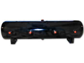 "LRD-12 Gallon Black Air Tank (8) 1/2"" ports 44""L X 9""D X 12.5""H EQUIVALENT TO AIR LIFT 10997 DOT APPROVED 4 ports on face 1 port on top/bottom & each end HT-95303B 100494"