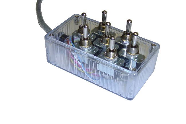 "AVSARC-T7-CL Clear 7 switch box with Carling switches 4.75""x2.5""x1.5"""