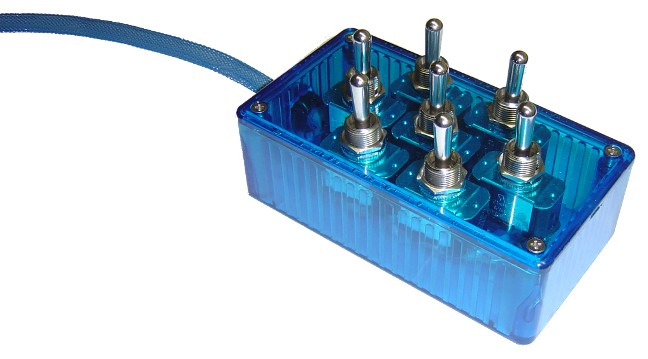 "AVSARC-T7-BU Blue 7 switch box with Carling switches 4.75""x2.5""x1.5"""