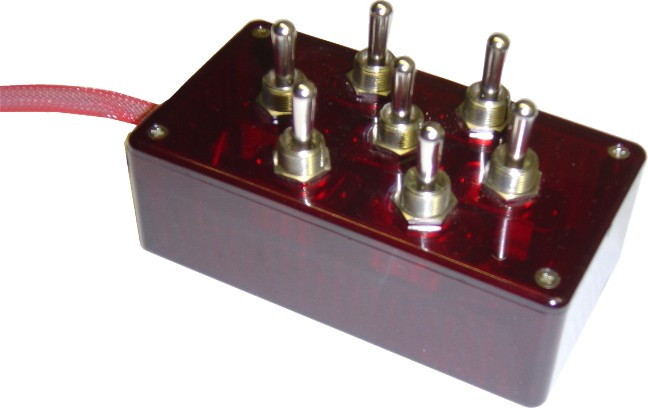 "AVSARC-T7-RD Red 7 switch box with Carling switches 4.75""x2.5""x1.5"""