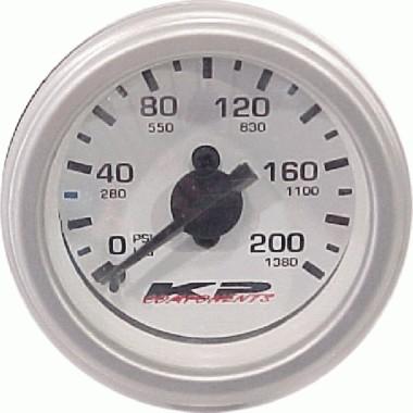 KP Components 200psi SINGLE needle gauge WHITE face Illuminated KPC SNAG-01