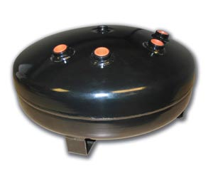 "LRD-4 Gallon Black Pancake Tank (1) 1/2""port,(3) 3/8"" port, (2) 1/4"" port & (2) 1/8"" port, 16""D X 8""H Air Lift 10995 DOT APPROVED HT1625"