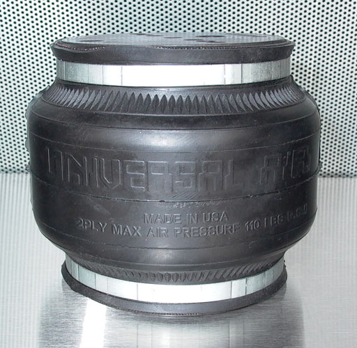"UVAIR Air House 1 Single bellow air bag designed for rear suspension 2"" compressed, 7"" extended 5.87"" diameter 1/2"" Port"