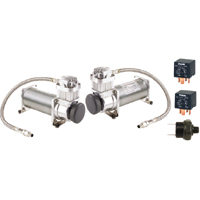 Viair 480C PEWTER Dual Pack (2) 480C PEWTER Compressors (2) Relays (1) 200psi pressure switch VIA480C 48012