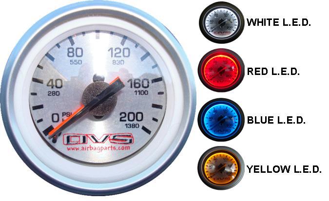 "AVS DUAL Needle 2"" Air Gauge SILVER face w/ white led, 1/8"" male npt ACSGAU200AVS2"