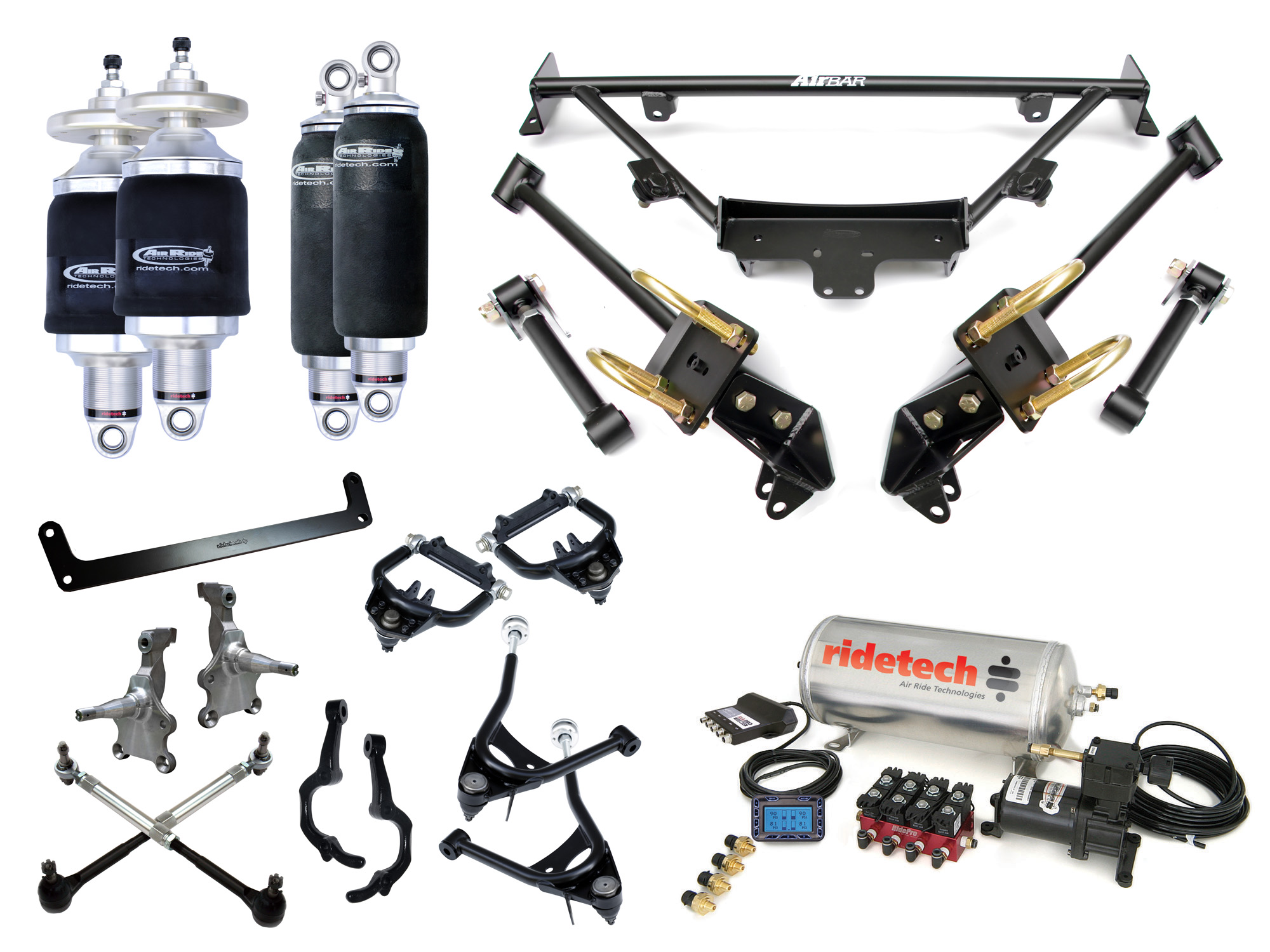 ART12090298 Ridetech 64'- 66' Ford Mustang Complete Air System (incl: Strong Arms, TruTurn System, Muscle Bar, 4 Link, HQ Shockwaves)