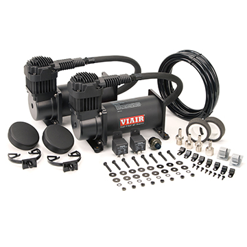 "VIA40048 Viair 400C ""Stealth Black"" Dual Pack (2) 400C ""Stealth Black"" Compressors, 150psi (2) Relays (1) 150 psi pressure switch"