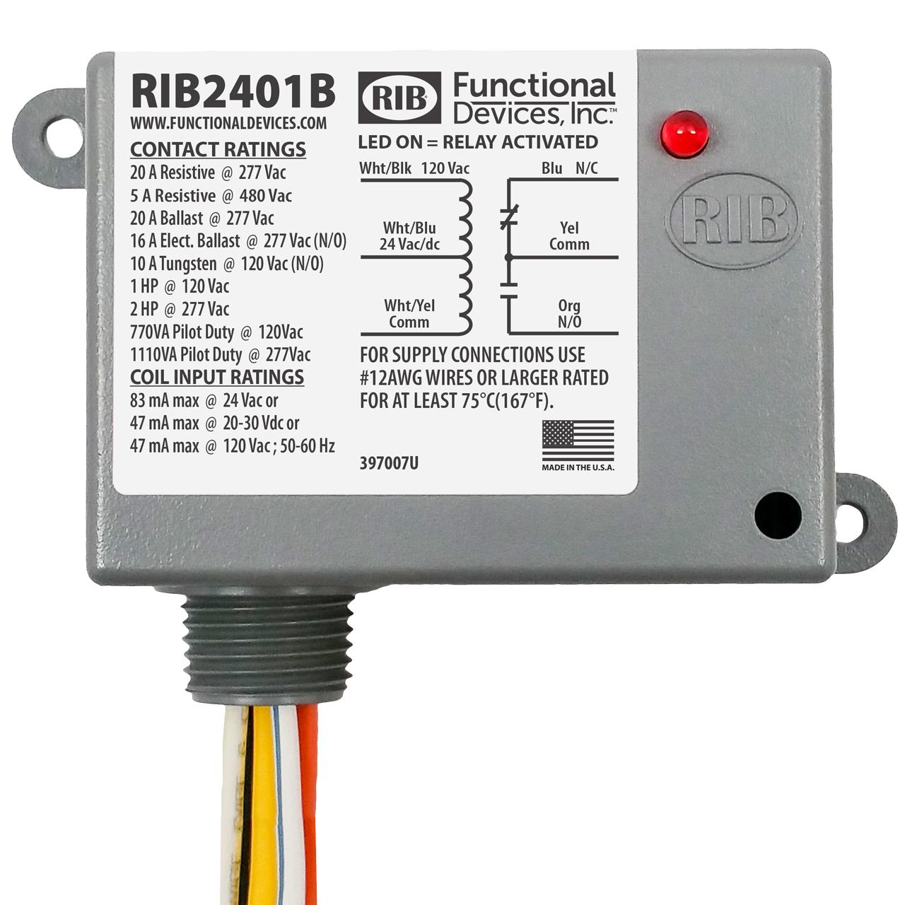 In Stock Rib Relays Rib2401b Enclosed Relay 20amp Spdt 24vac Dc 120vac Thermostat Wiring Diagrams