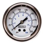 "VIA90089 Viair 220psi SINGLE needle 2"" gauge WHITE Face Illuminated"