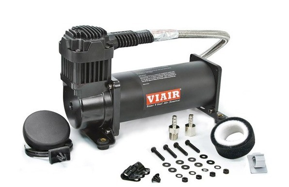 "VIA444C Viair 444C ""Stealth Black"" Compressor 100% Duty @ 100psi 55% Duty @ 200psi 1/4"" Leader Hose, *New Style Head Design"