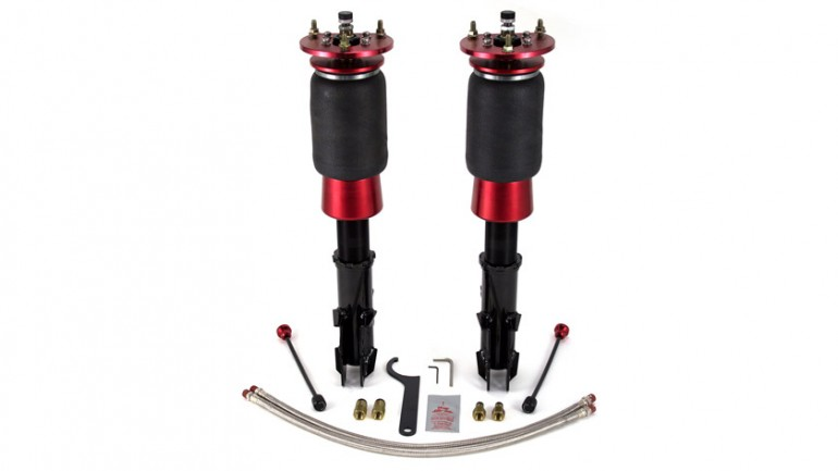 "AIR-75671 Subaru Impreza (1992-2001) Rear Kit Durable double bellows springs 30-level damping adjustable, monotube, threaded body struts Adjustable camber plates High quality spherical ball upper mounts Drop = 102mm/4"" Progressive rate air sleeve over strut 30-way damping adjustment Threaded body Monotube construction Adjustable camber plates"