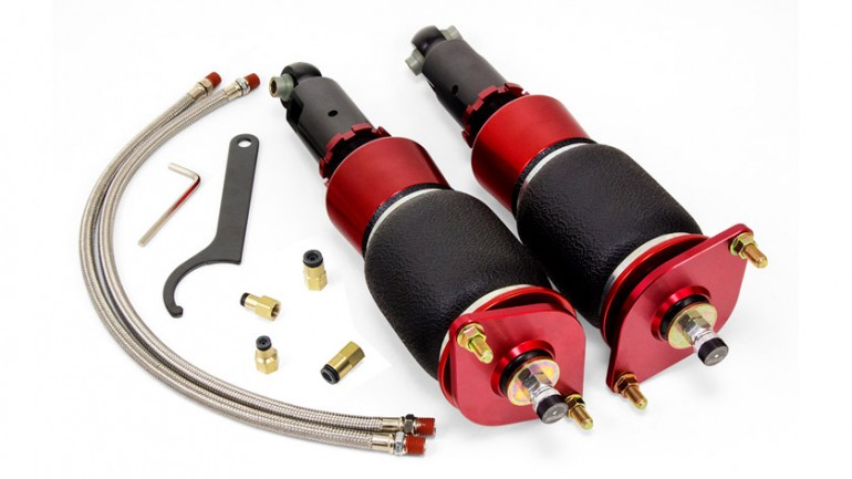 AIR-78641 Subaru WRX/STI rear kit 2015-2016 30-Level Adjustable Damping Proprietary Bolt-in Camber Plates Threaded, Adjustable Lower Strut Mounts High Performance Monotube Struts High Quality Spherical Ball Upper Mounts Double Bellows Progressive Rate Springs Braided Stainless Steel Leader Air Hoses No Modifications Necessary