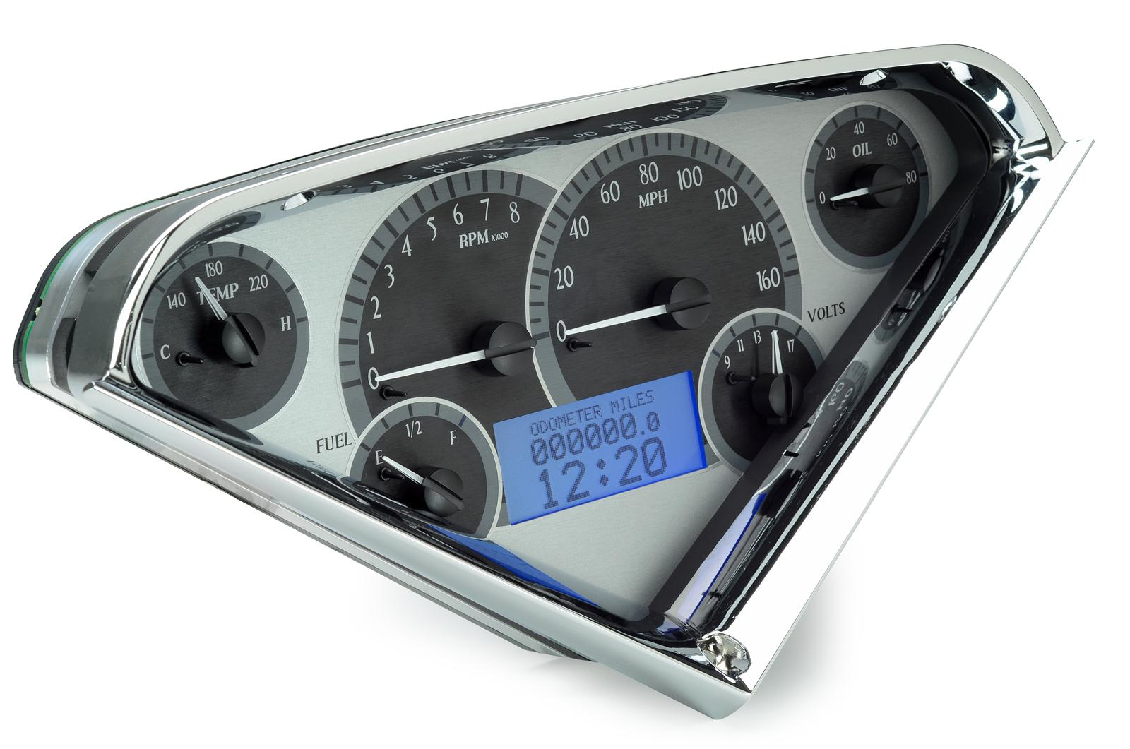 DAKVHX-55C-PU-S-B 1955-59 Chevy Pickup VHX System Satin Alloy Style Face Blue Display