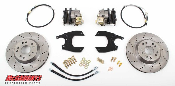 "MCG64101 10 or 12 GM Car Rear End 13"" Rear Disc Brake Kit 5x5 Lug Pattern Cross Drilled"