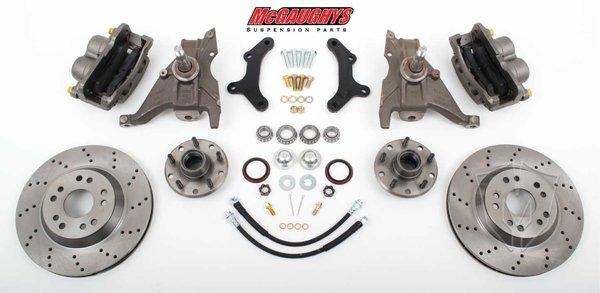 """MCG64080 13"""" Big Brake Kit 79-81 Camaro, 13"""" Front Disc Kit w/ 2""""spindles **Cross Drilled**"""