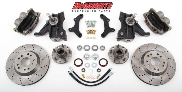 MCG63150 1963-70 C-1013 Front Disc Kit w/2.5 Spindles **cross drilled** (5 on 4.75 ) (must use 17 + rims)