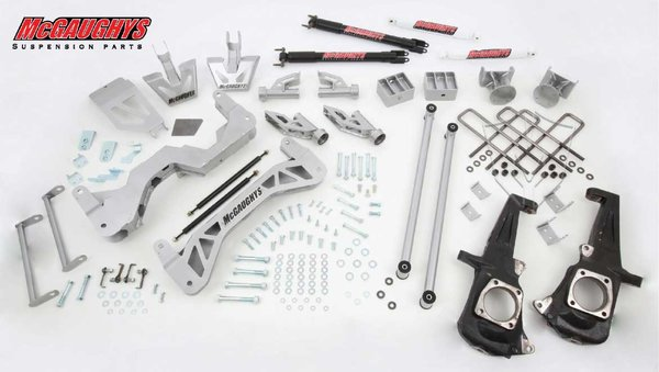 """MCG52304 7"""" Premium Lift Kit for 2011-2016 GM Truck 3500 (2WD, Gas Motor) (Silver Powdercoated)"""