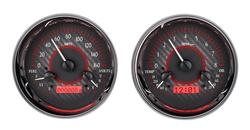 DAKVHX-1014-C-R Dual Round Universal VHX System Carbon Fiber Style Face Red Display