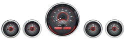 DAKVHX-1015-C-R Five-Gauge Round Universal VHX System Carbon Fiber Style Face Red Display