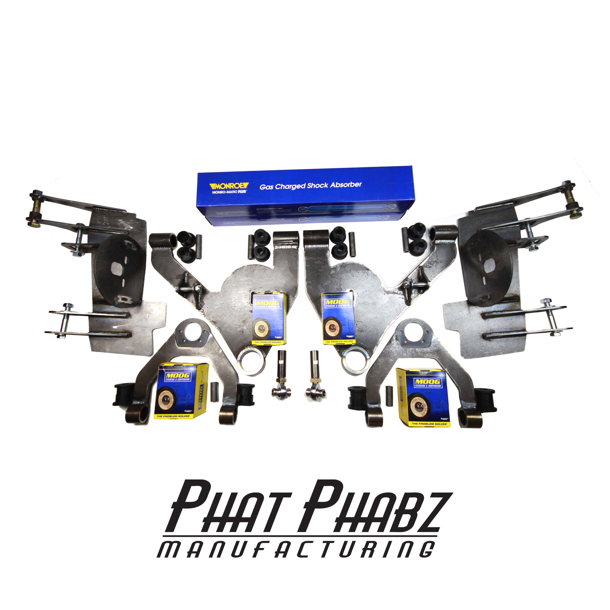 "PHA 1001 Phat Phabz 99'- 06' Silverao/Sierra Front Kit Features a 1"" narrowed Track Width, Moog Ball Joints, Monroe Shocks, W/ Steering Kit with 3/4"" chromoly heims ** Will lay 22""-28"" wheels ** ** Price includes $100 spindle core charge **"