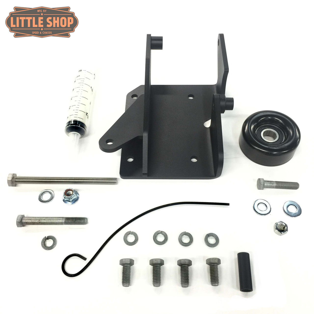 LSMFG-Pre V-JYD 90'-95' GM 4.3, 5.0, 5.7 Pre-Vortec Engine Driven Compressor Junkyard Dog Kit (Bracket, Hardware and pulley only)