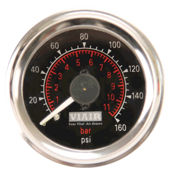 "VIA90082 Viair 160psi DUAL needle 2"" gauge BLACK face Illuminated"