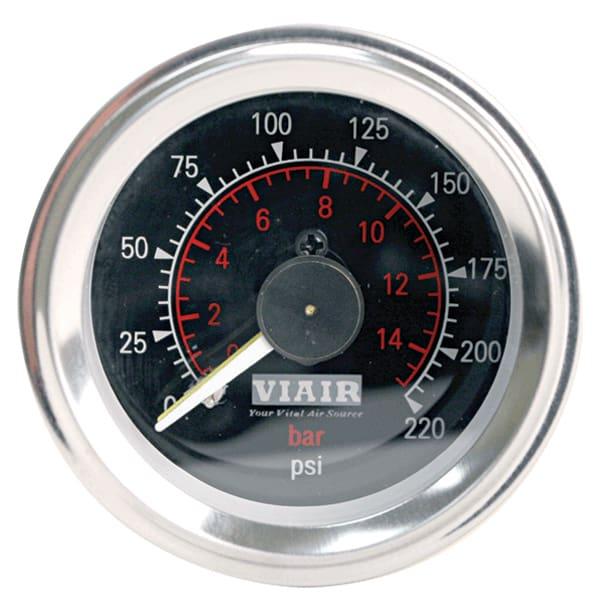 "VIA90080 Viair 220psi DUAL needle 2"" gauge BLACK face Illuminated"