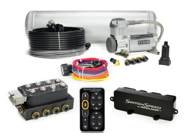 """LRD ACCUAIR SWITCH SPEED AIR MGT #1 (1) Accuair Switch Speed (1) Accuair VU4 3/8"""" Manifold (1) Viair 400c Compressor (1) 5 Gallon Tank ***** (PLEASE ORDER FITTING KIT LRD AA-FK FOR FITTINGS) ****(PLEASE SELECT AN EXO MOUNT IF ONE IS DESIRED)****"""