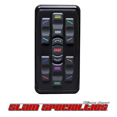 SLM MC.2-B BLACK Anodized Controller Billet Aluminum Case Silicone Touch Pad Customizable LED Back-lit Buttons (12 color options) Smaller, Water Resistant Receiver Integrated Coil Saver Technology Four Corner Control with Pancake Plug & Play with SV-8C Manifold Controls 8 Valves Individually One-wire Communication for Flexible Operation 1-year warranty Made in the USA
