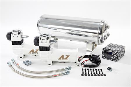 "Air-Zenith Dual-OB2 White 200PSI Basic OBA Kit (2) White OB2 200PSI Compressors (1) 5 Gallon Aluminum Chrome Tank (1) Adjustable Pressure Switch (1) 220PSI Digital Air Gauge (2) 1/2"" Air Tank Fittings (2) 80A Heavy Duty Relays Two Year Manufacturer Warranty AZOW2K2A"