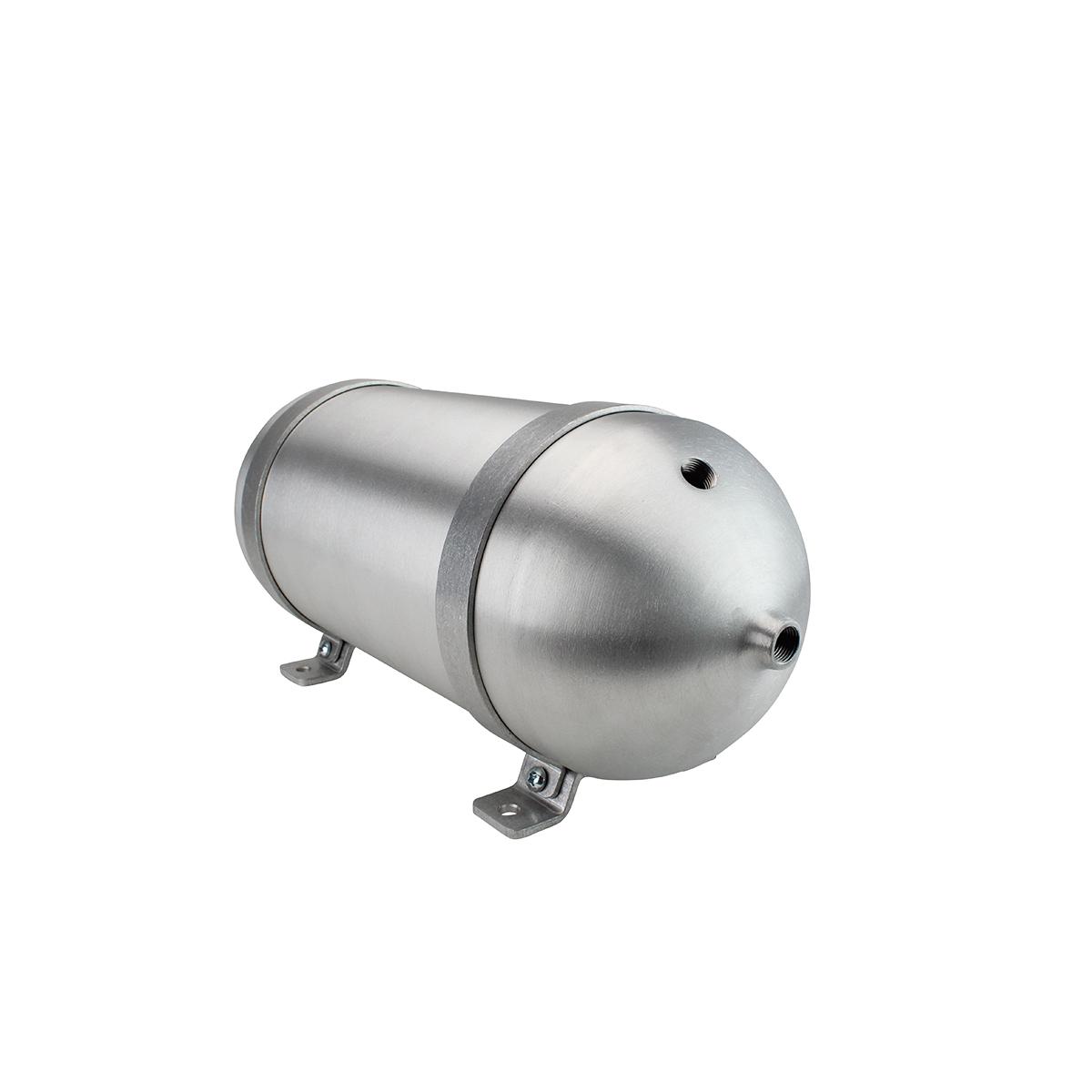 """SA618038-01 Seamless Tanks Aluminum Air Tank 18"""" Length 6.625"""" Diameter, (4) 3/8"""" Ports (1) 1/4"""" Port, 200psi Rated, 2 Gallons"""