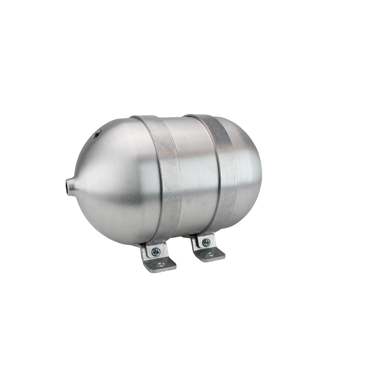 """SA612038-01 Seamless Tanks Aluminum Air Tank 12"""" Length 6.625"""" Diameter, (4) 3/8"""" Ports (1) 1/4"""" Port, 200psi Rated, Actual Volume 1.25 Gallons"""