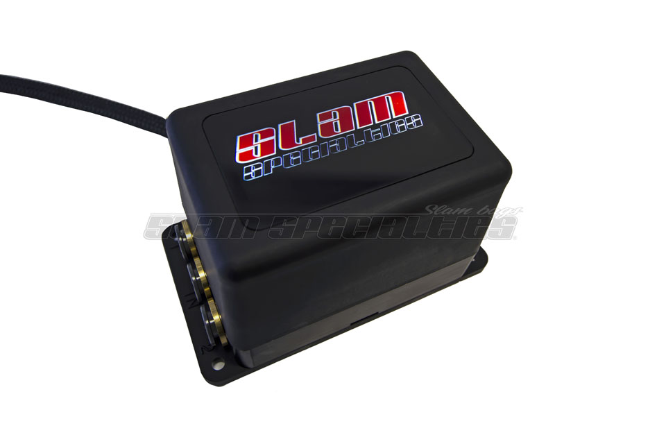 """SLM SV-8C Slam Specialties 4-Corner 3/8"""" Manifold - Black Anodized - PTC fittings (4) Bag inlets (2) Tank Inlets *Measurements: (2 7/8"""" Height x 5 1/4"""" Length x 3"""" Width) Connects w/ molex plug **(Extended manifold-to-controller wiring harnesses available"""