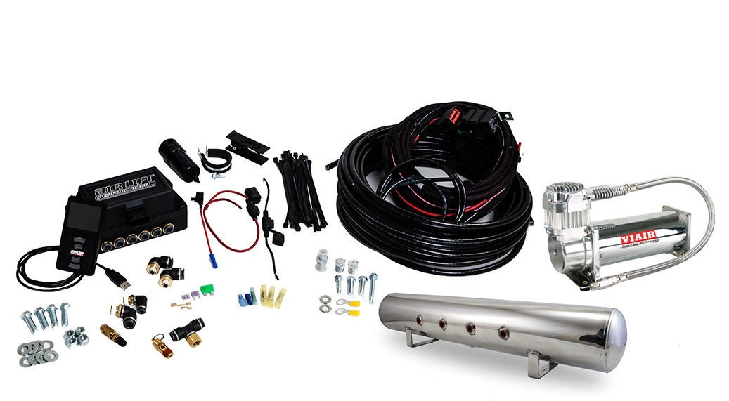 "AIR-27783 Air Lift Performance 3P Combo (1/4"" Air Line, 5 Gallon Lightweight Polished Aluminum Tank, Viair 444C Compressor)"