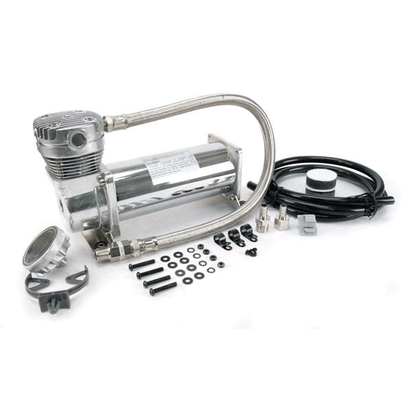 "VIA48043 Viair 480C CHROME Compressor 100% Duty @ 100psi 55% Duty @ 200psi 3/8"" Leader Hose, *New Style Head Design"