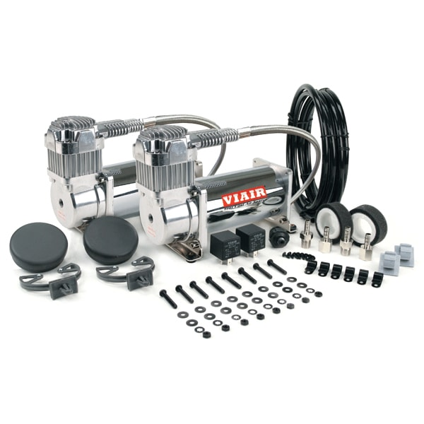 "VIA38003 Viair 380C CHROME ""Dual Pack"" (2) 380C Compressors (2) Relays (1) 200 psi pressure switch"